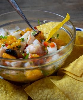 Shrimp Ceviche with Charred Tangerine and Jalapeño