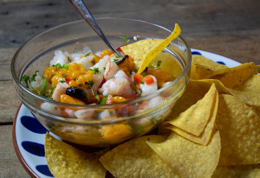 Γαρίδες Ceviche με Charred Tangerine και Jalapeño