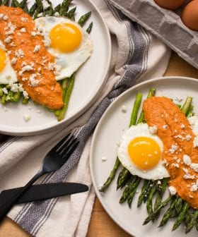 Roasted Asparagus with Homemade Olive Oil Romesco and Eggs