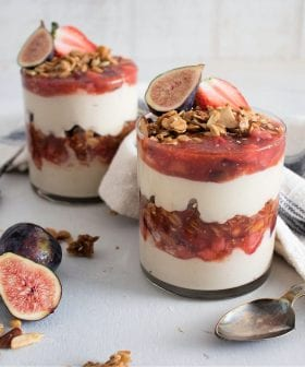 Tahini-Yogurt Mousse Parfaits with Fig and Strawberry Olive Oil Compote
