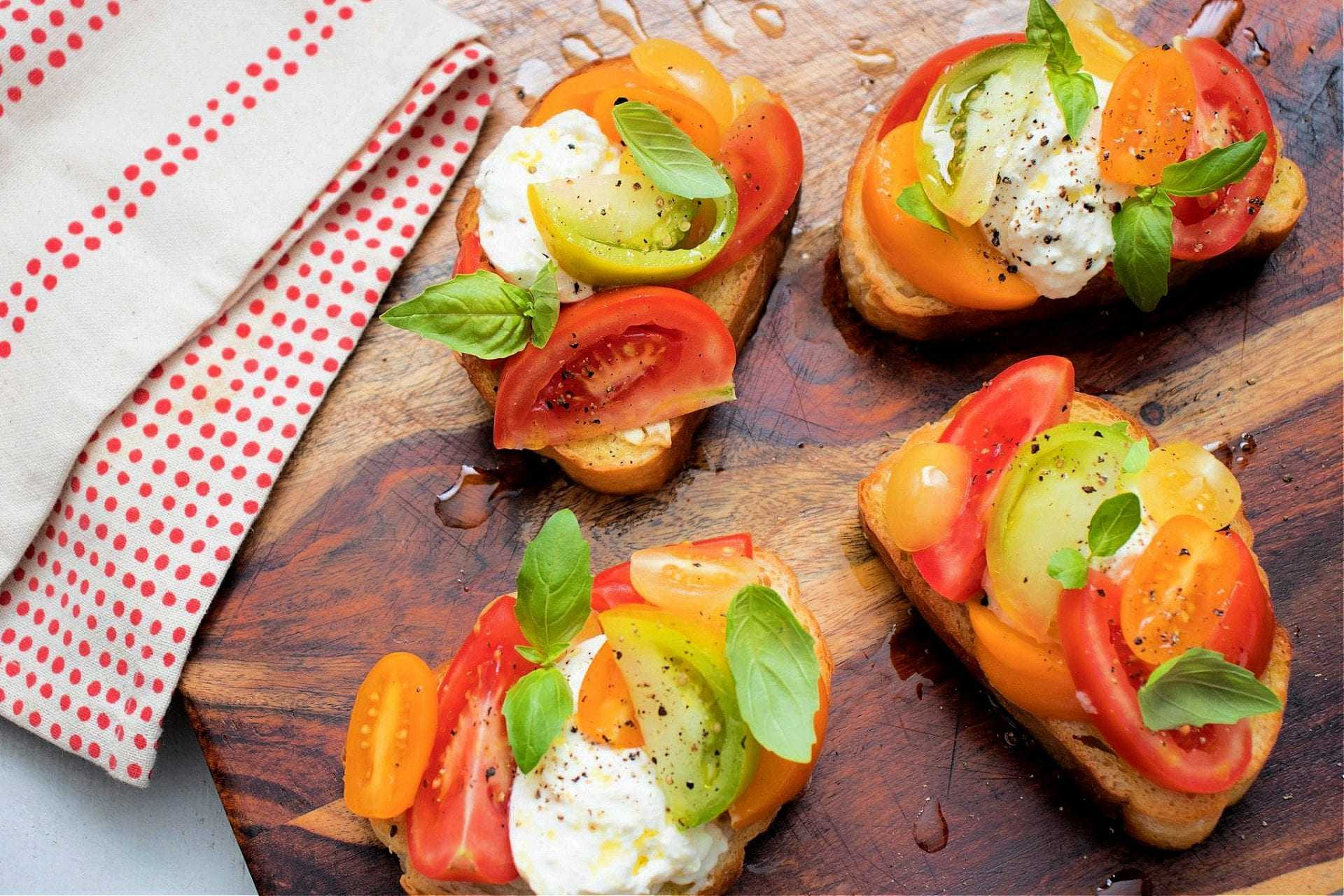 Olive Oil Pomodoro Toasts with Burrata