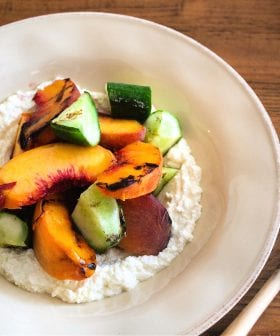 Grilled Peaches and Cucumbers with Ricotta