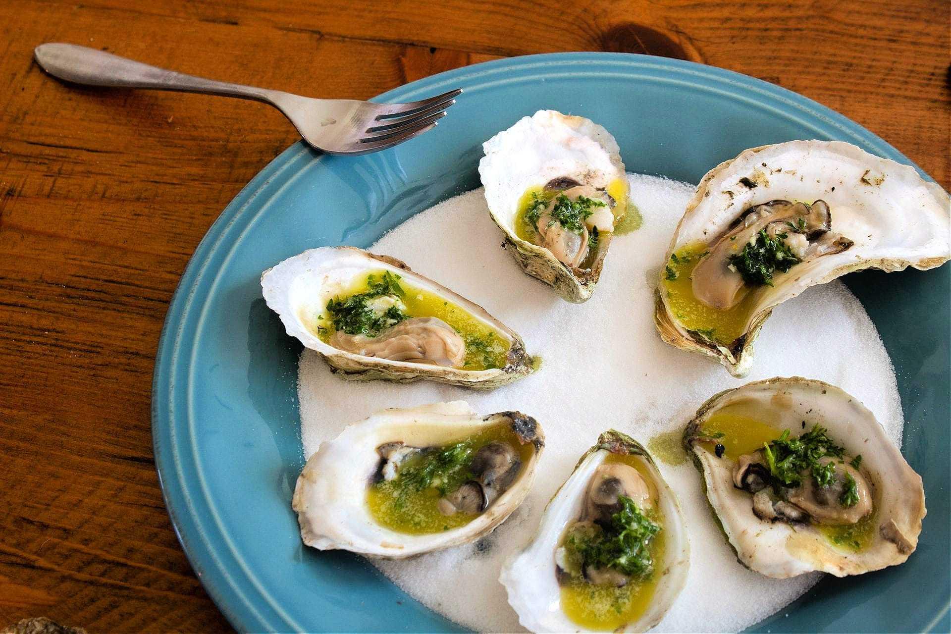gegrillte austern mit zitrus und olivenöl gremolata