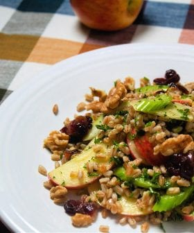 Fall Farro Tabbouleh with Spiced Cranberries and Honey Crisp Apples